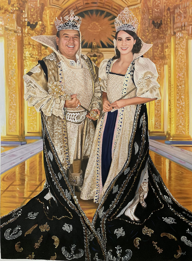Custom handmade oil painting of a couple with crowns