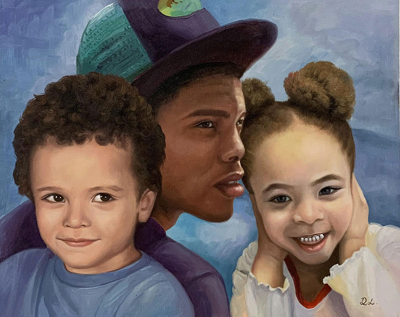 Custom acrylic painting of an adult with two children