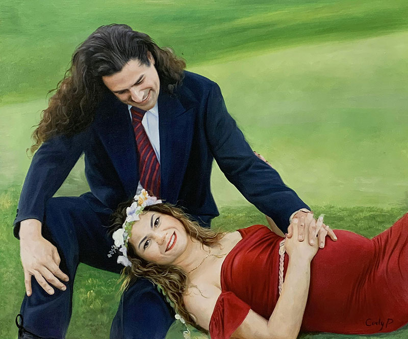 Beautiful handmade oil painting of a loving couple