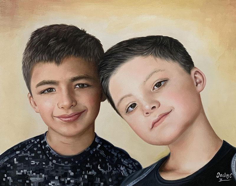 Custom handmade oil painting of two boys