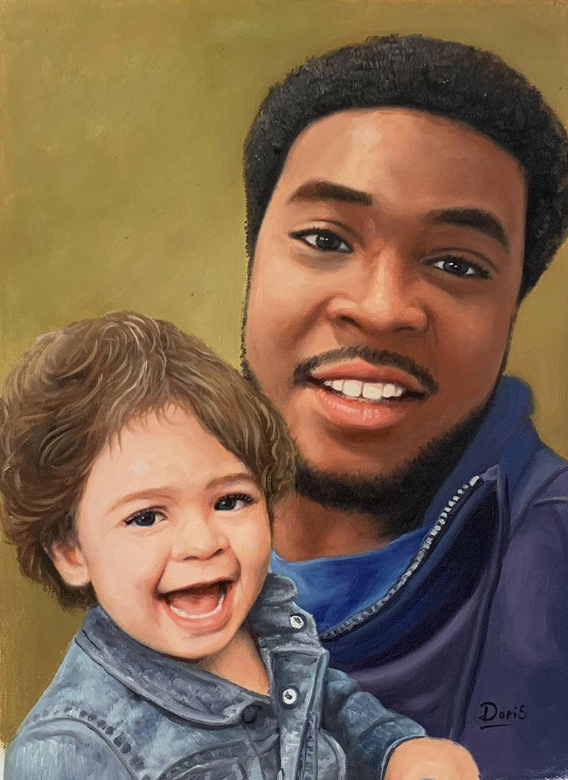 Beautiful oil painting of a father and son