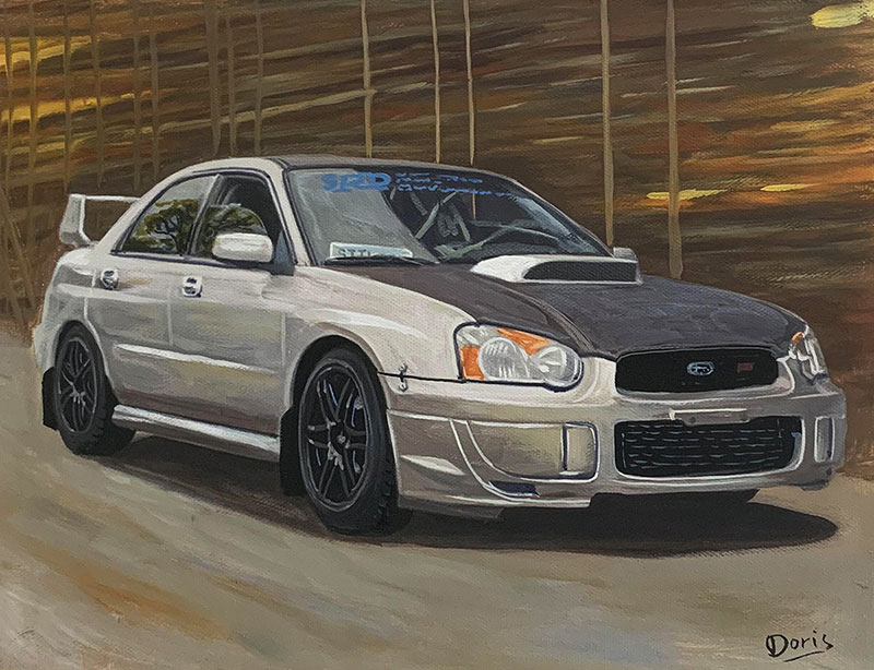 Gorgeous oil painting of a car