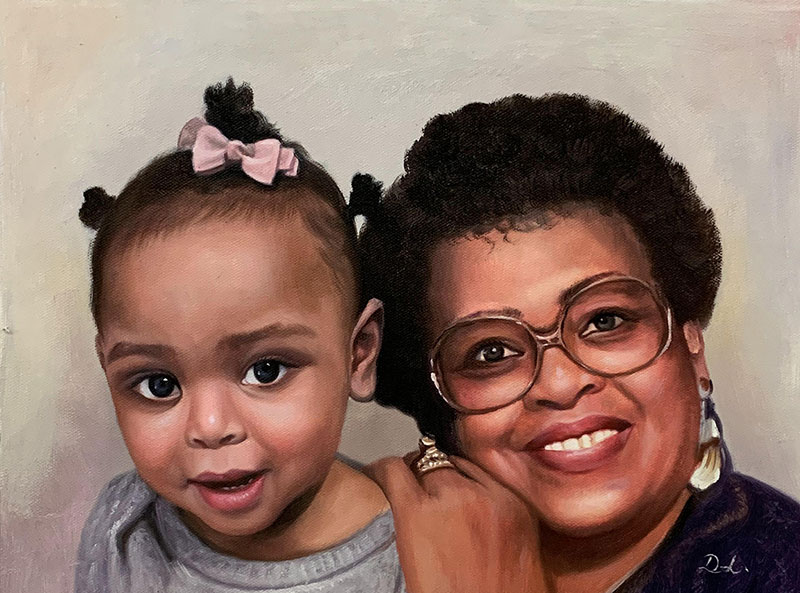 Beautiful acrylic painting of a grandmother with grand kid