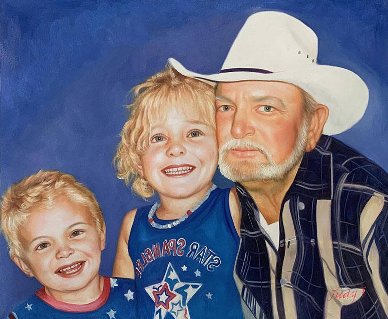 Personalized oil painting of a grandfather and two kids