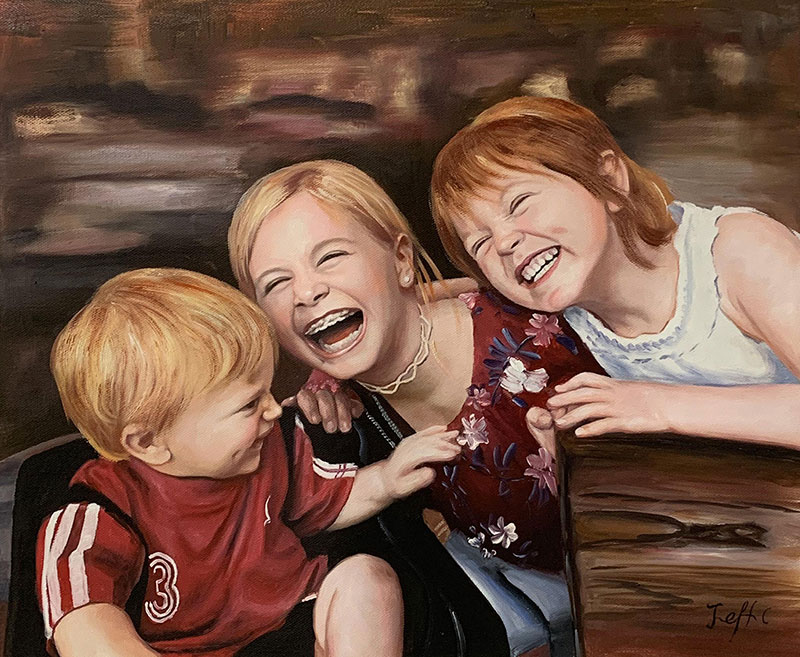 Beautiful oil painting of three happy children