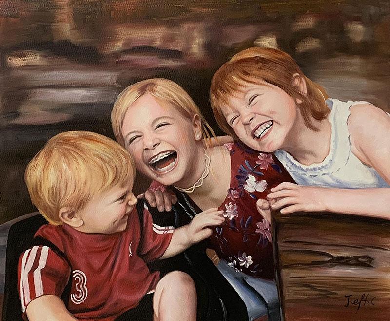 Beautiful oil painting of three happy children