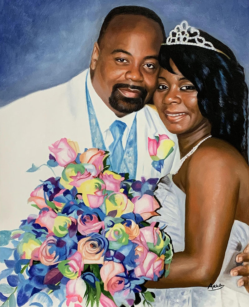 Beautiful oil painting of a just married couple