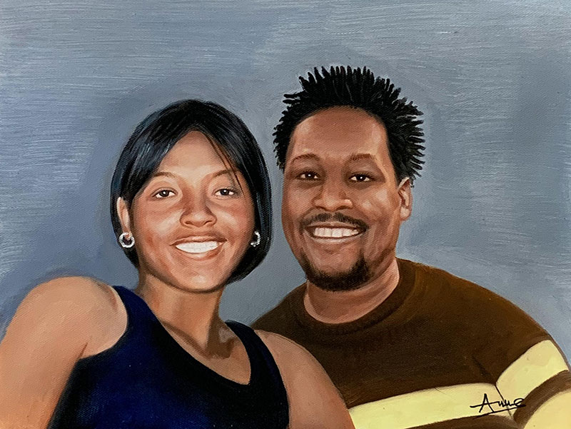 Beautiful acrylic painting of a happy couple