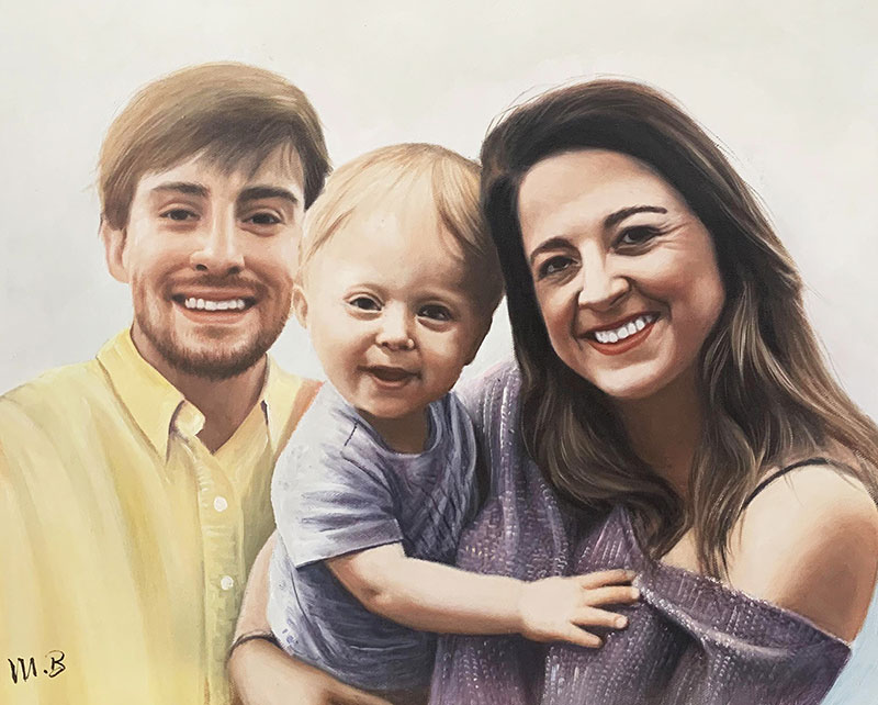 Custom handmade oil painting of the parents and child