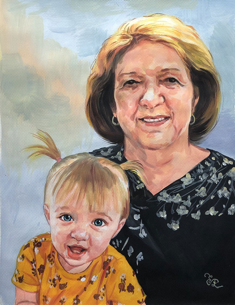 Gorgeous pastel painting of a grandmother and a grand kid
