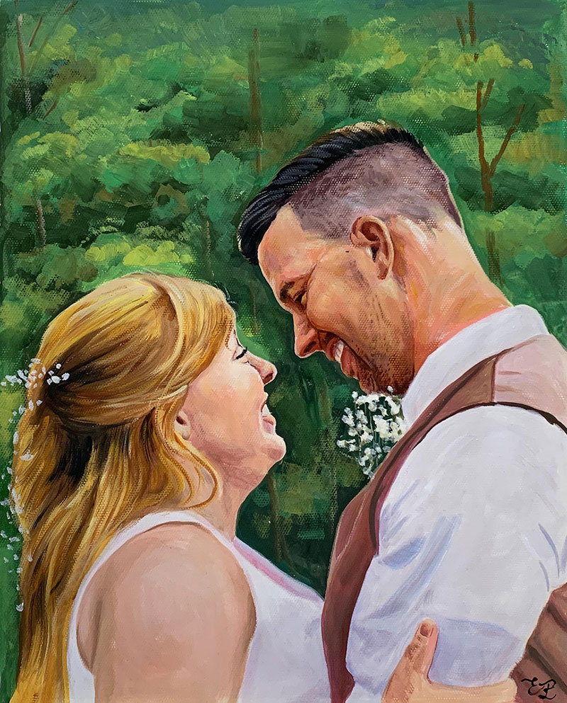 Gorgeous handmade pastel painting of a just married couple