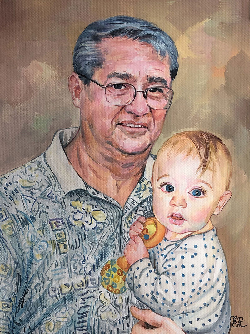 Beautiful handmade pastel painting of a father and child