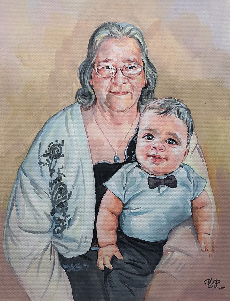 Beautiful pastel painting of a grandmother and grandson