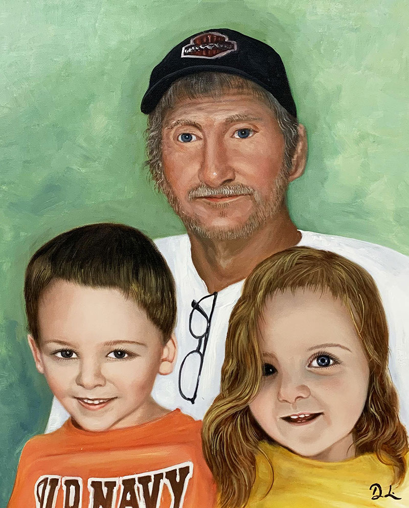 Custom acrylic painting of a grandfather and grand kids