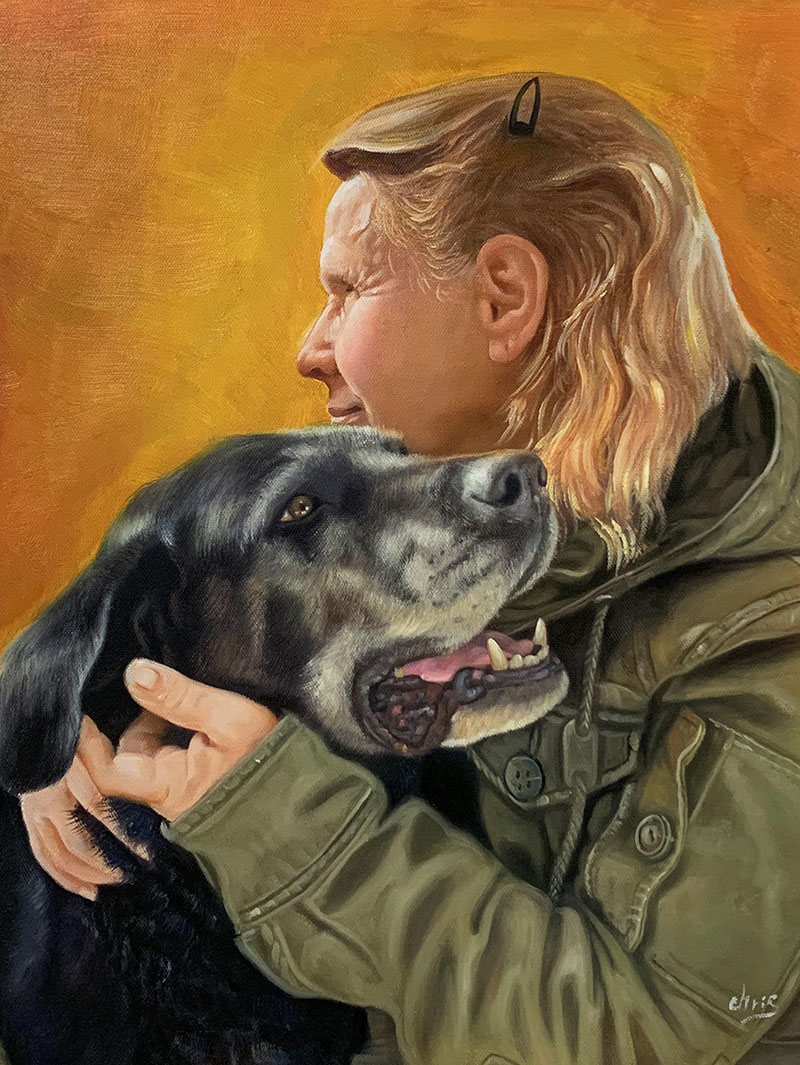 Personalized oil artwork of a lady with a pet