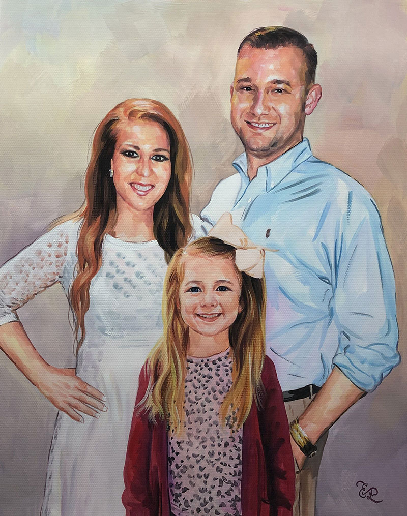 Gorgeous handmade pastel portrait of a happy family