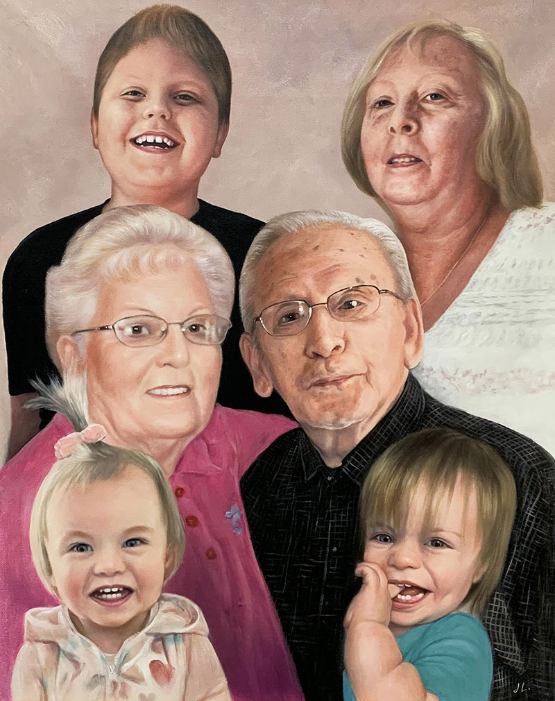 Gorgeous handmade oil portrait of a happy family