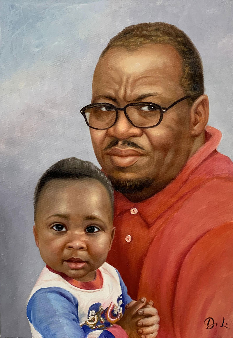 Beautiful acrylic painting of a father and son