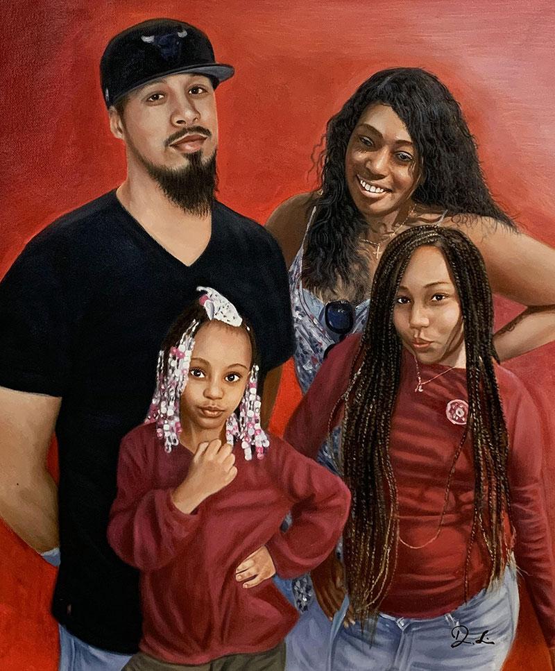 Beautiful handmade acrylic family portrait
