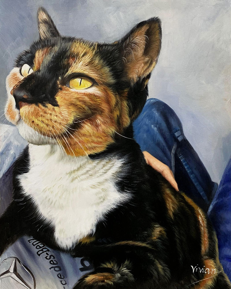 Custom handmade acrylic painting of a pet