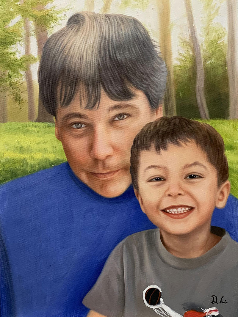Personalized acrylic portrait of a father and child