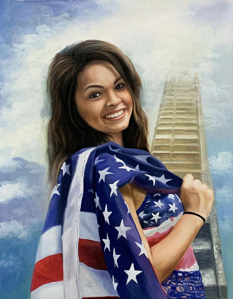 Beautiful acrylic memorial portrait of a lady