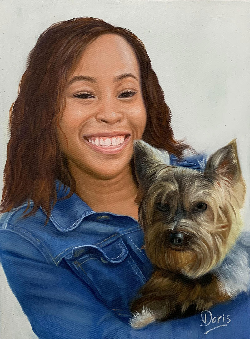 Personalized oil painting of a lady with pet