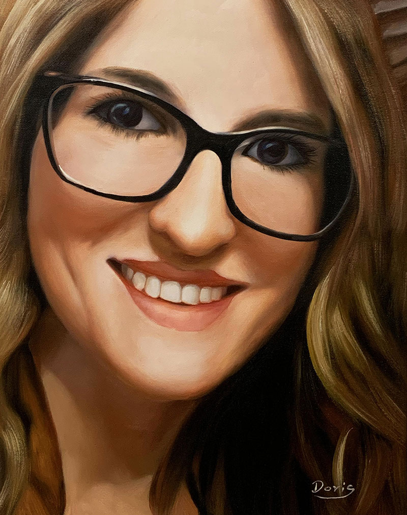 Beautiful close up oil portrait of a lady with glasses