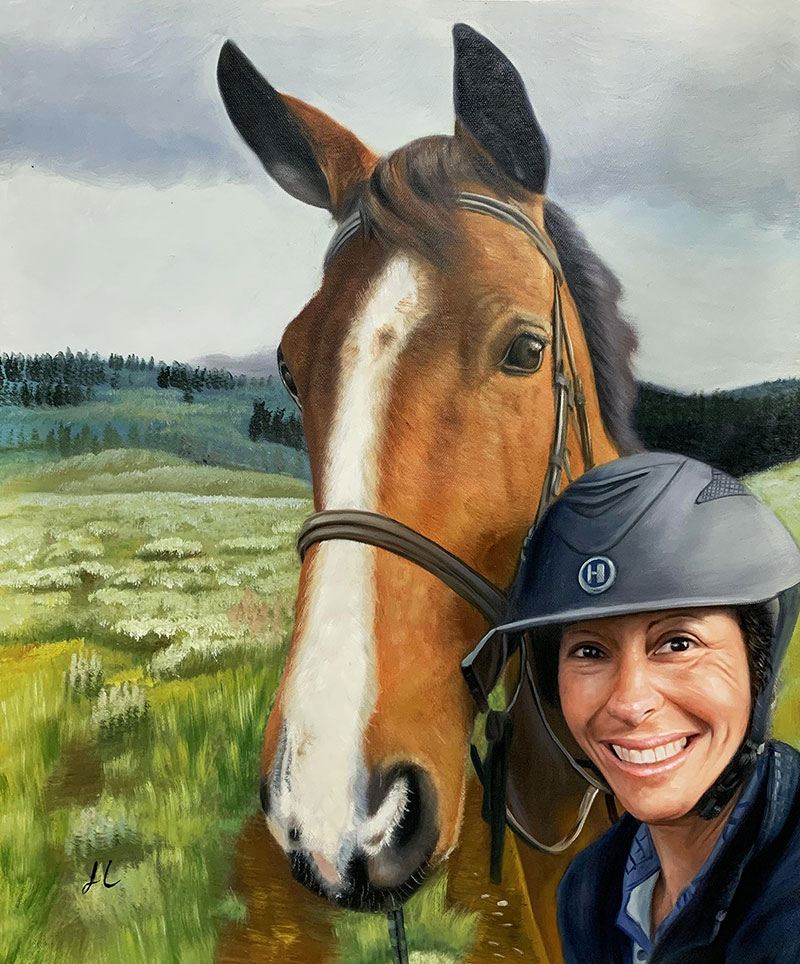 Custom oil painting of a horse and an adult