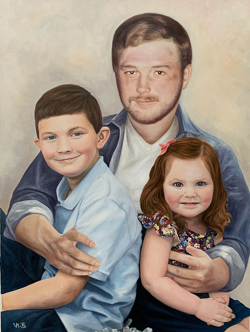 Personalized oil painting of a father and children