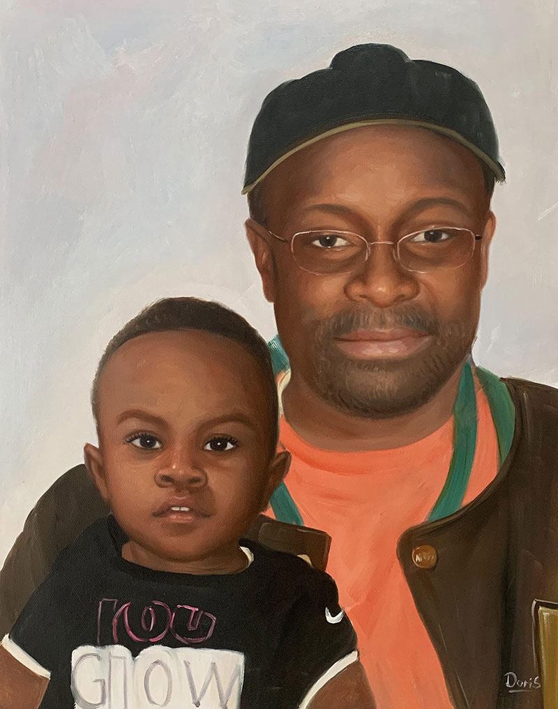 Personalized oil portrait of a father and son