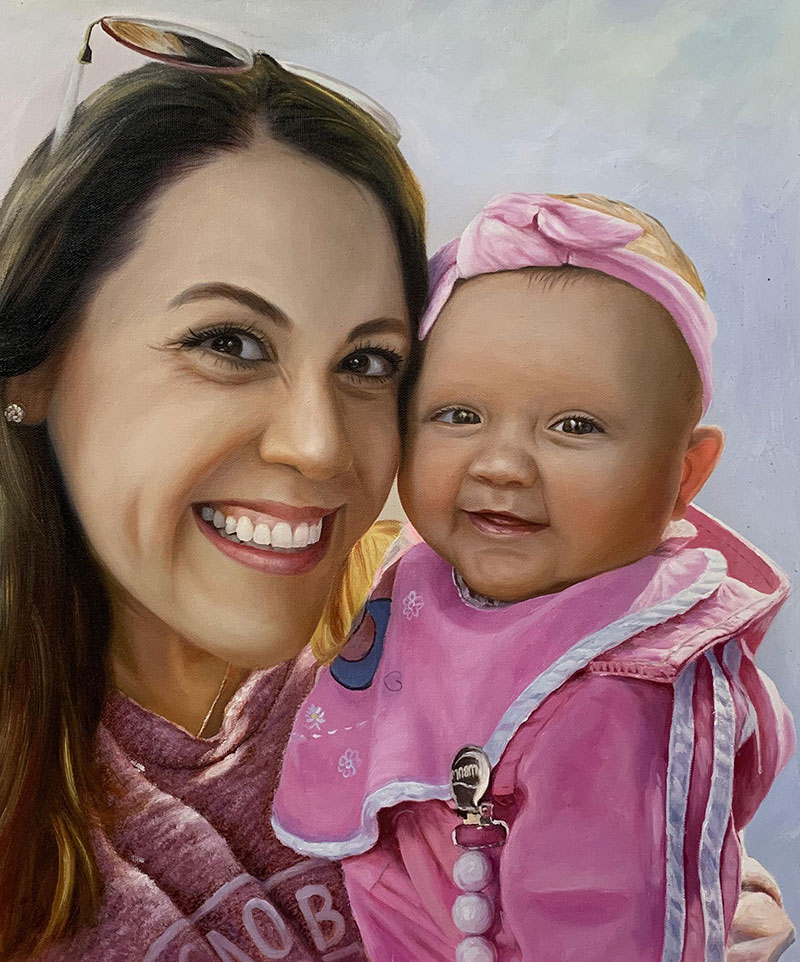 Gorgeous handmade oil artwork of a mother and child