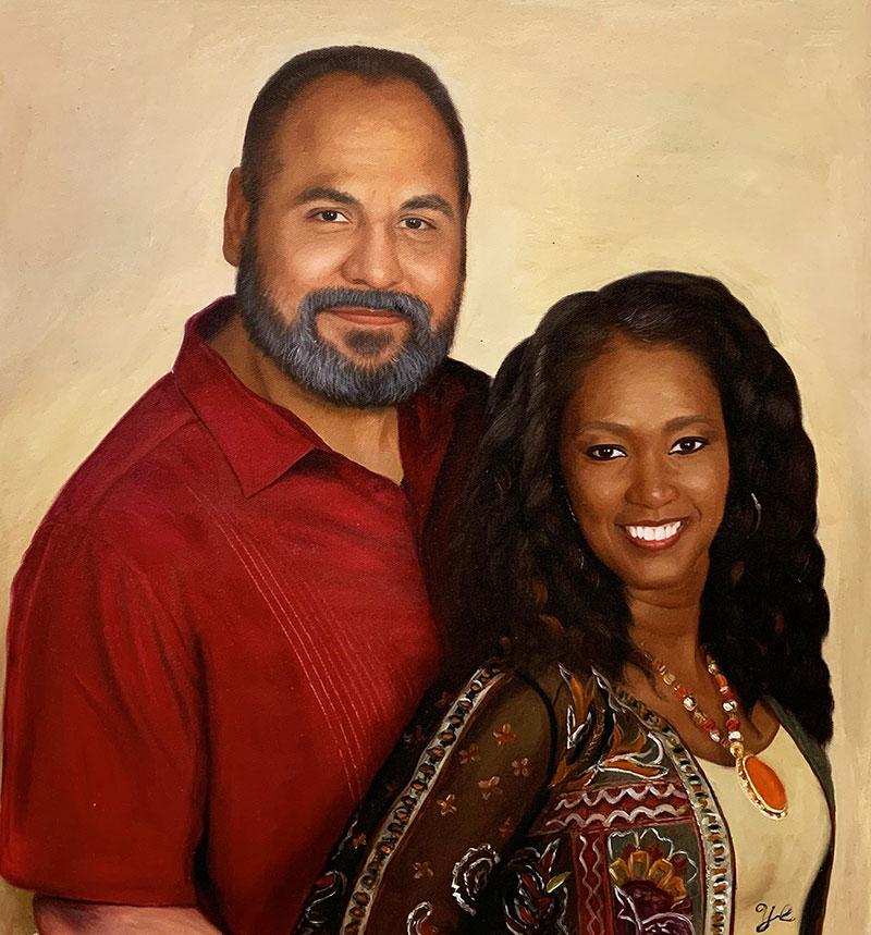 Custom handmade oil portrait of a couple