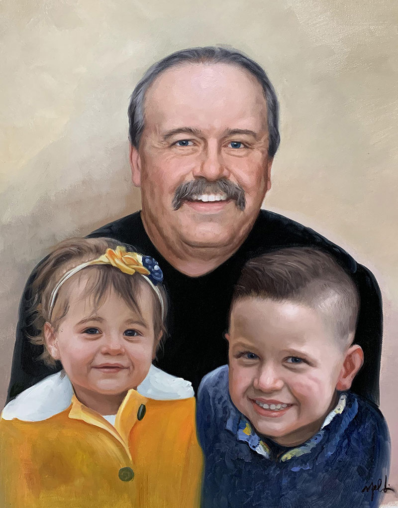 Personalized oil painting of a grandfather with kids