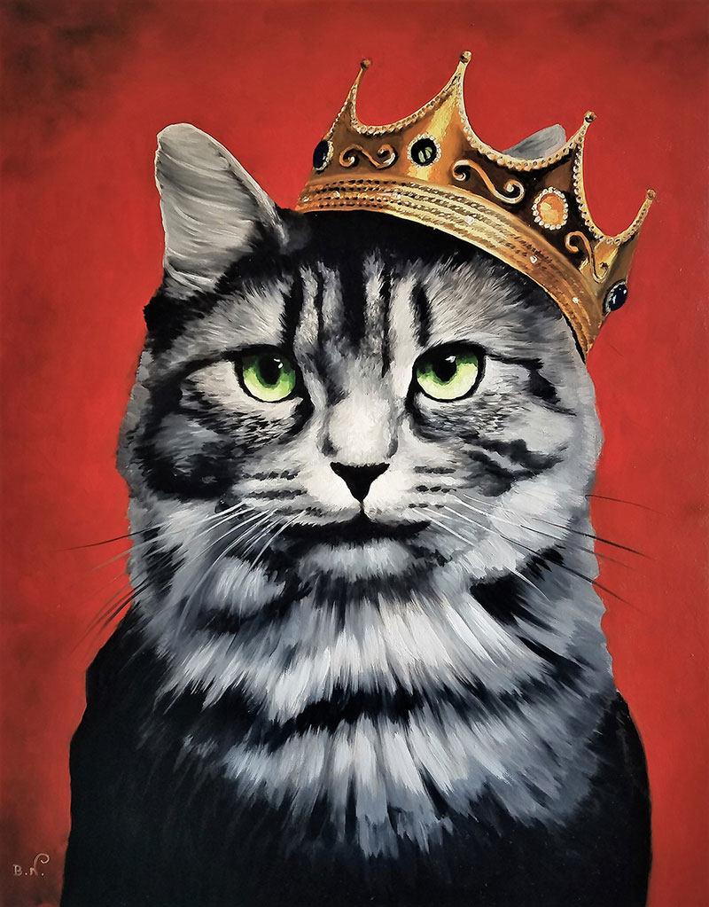 Custom handmade oil artwork of a cat with crown