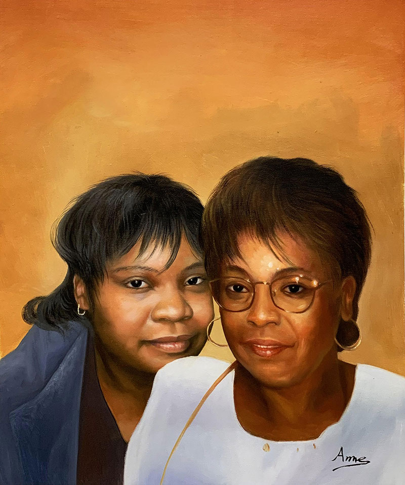 Beautiful oil painting of two adults with a solid background