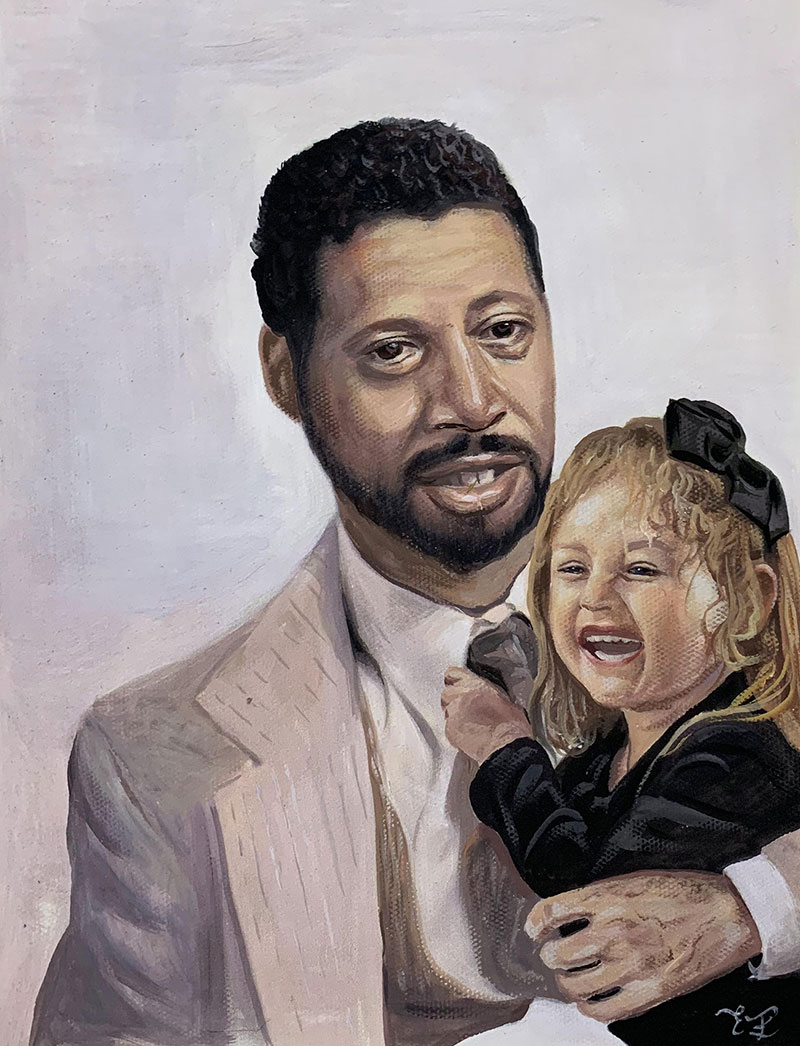 Gorgeous handmade pastel artwork of a father and child