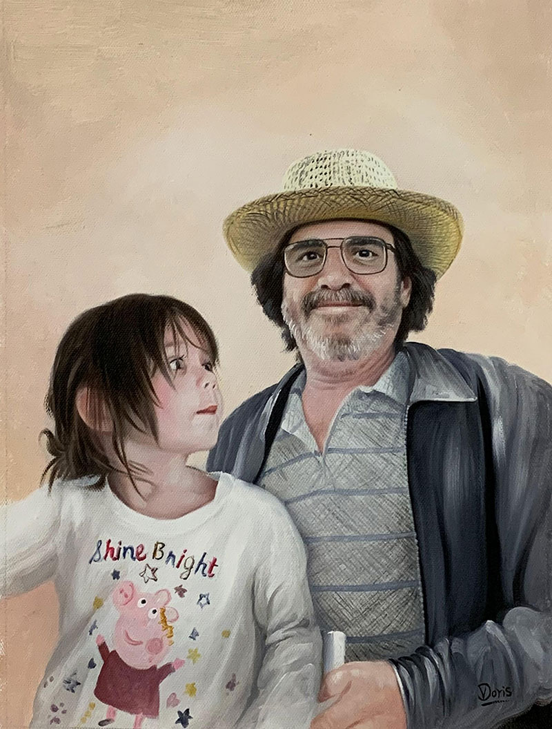 Beautiful handmade oil painting of a father and child