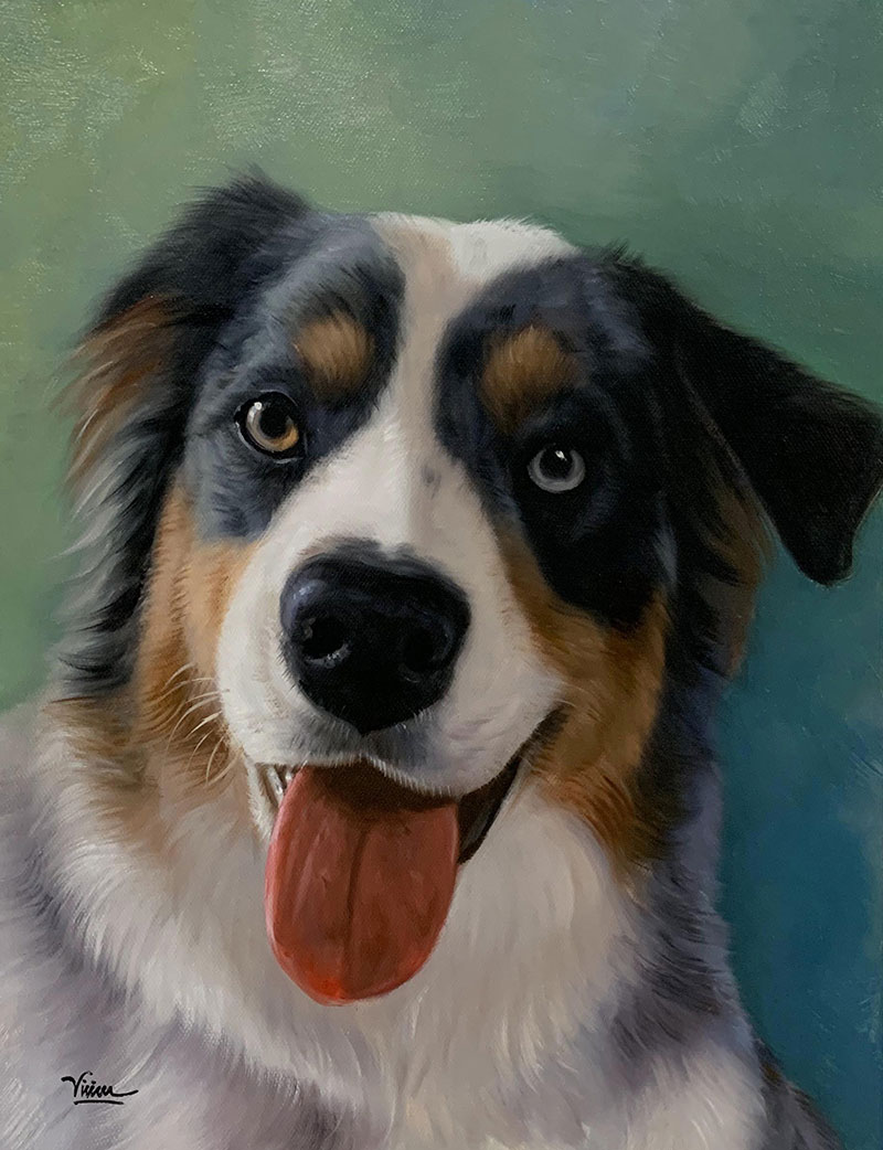 Custom handmade close up oil artwork of a dog
