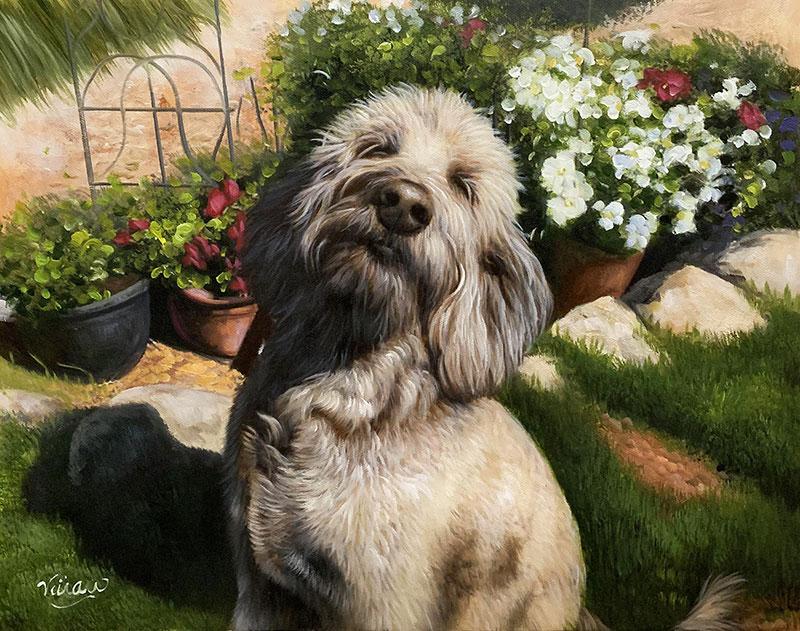 Custom handmade acrylic artwork of a dog