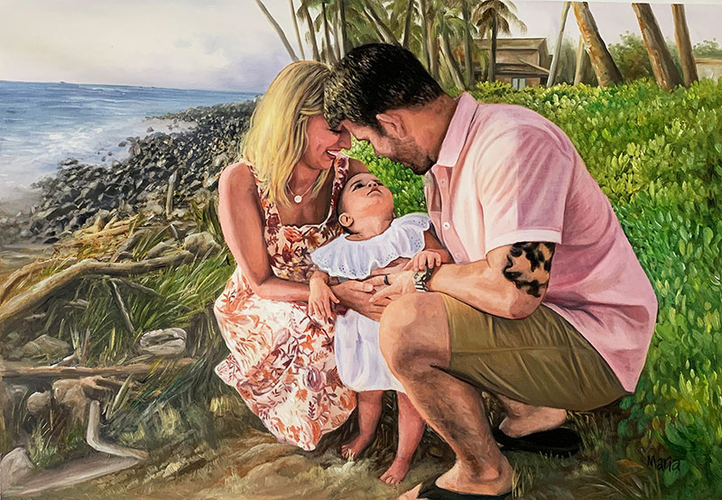 Beautiful oil painting of a loving couple with a child