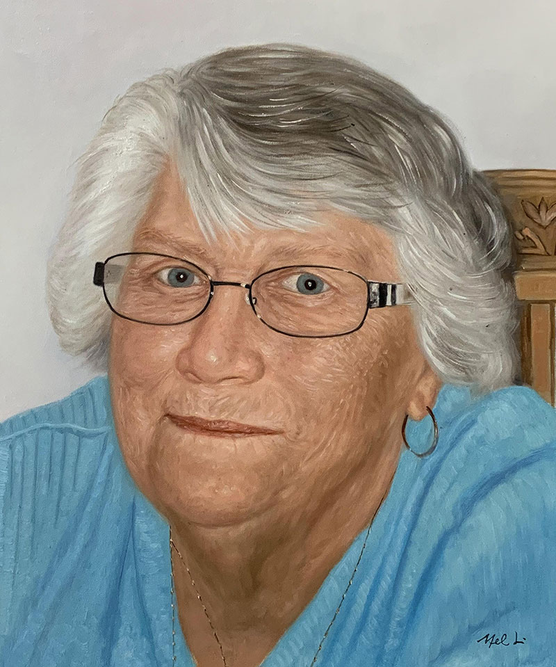 Personalized oil portrait of a lady with glasses