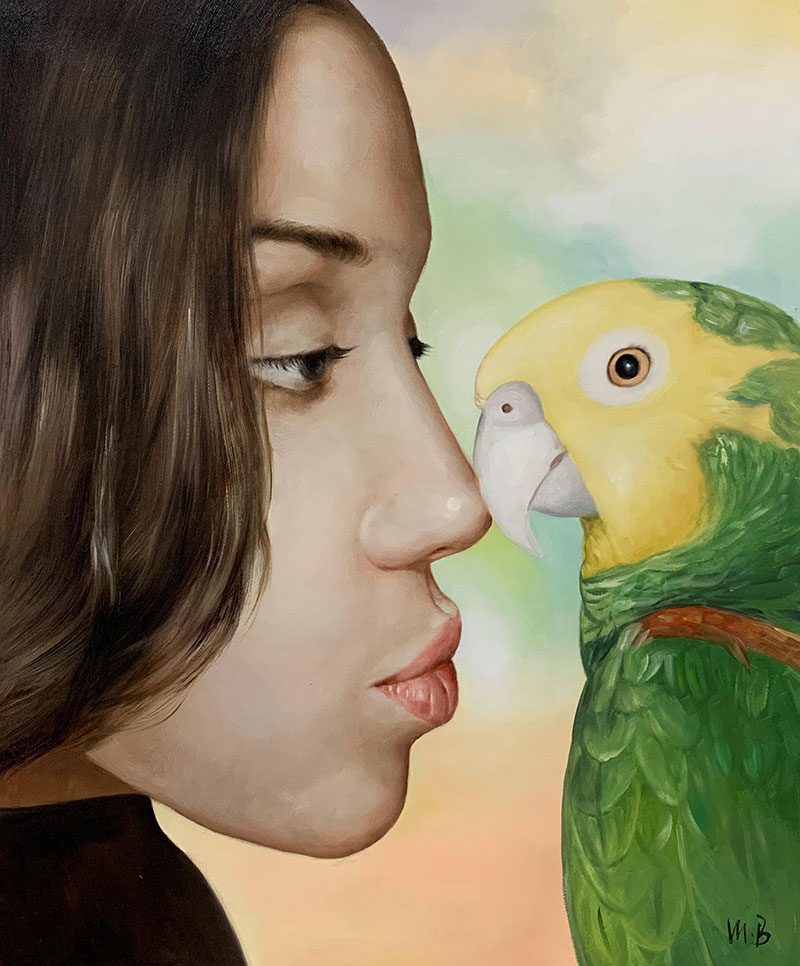 Custom close up oil portrait of a girl with a parrot