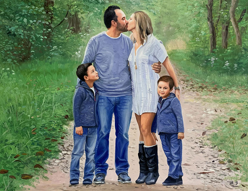 Beautiful oil painting of a kissing couple with two children