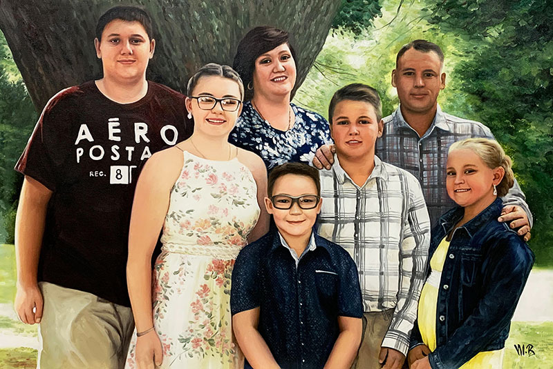 Beautiful oil family portrait of seven people