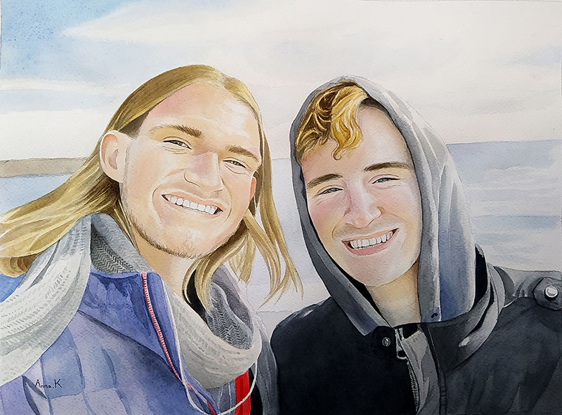 Personalized watercolor painting of two adults