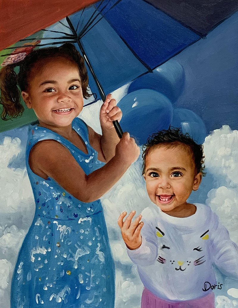 Beautiful oil painting of two kids with umbrella