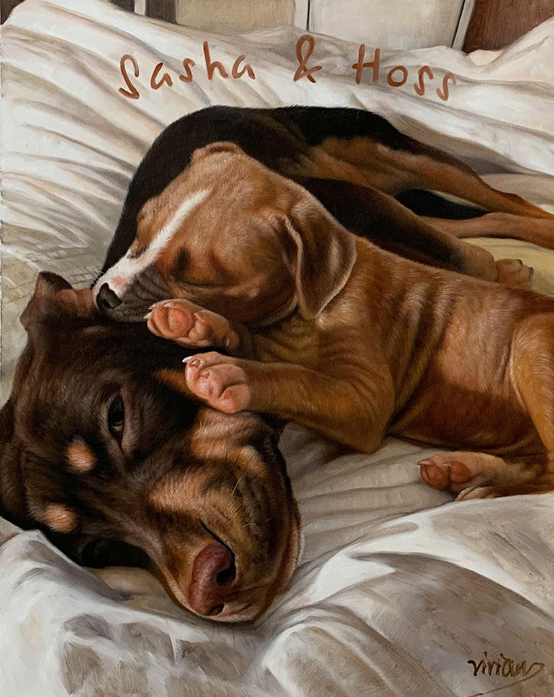 Beautiful acrylic painting of two dogs