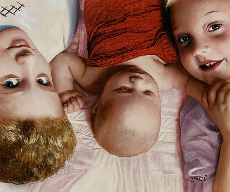 Gorgeous handmade oil painting of three children