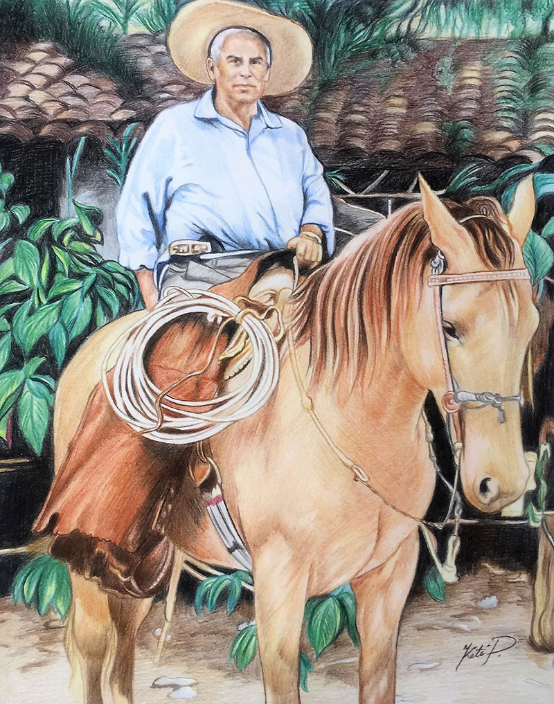Beautiful color pencil painting of a man riding a horse
